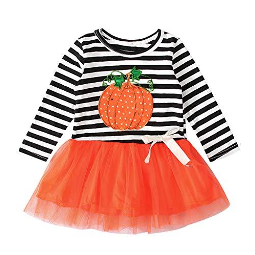 Kleinkind-Baby Mädchen-Halloween-Kürbis-gestreifte Tulle-Patchwork-beiläufige Kleider, Kinder Langarm Halloween Kürbis Pailletten Striped Mesh Panel Kleid Tutu -