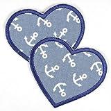 Flicken Herz hellblau blau Aufnäher Bügelbild Bügelflicken Aufbügler Knieflicken zum aufbügeln Applikation 2 Patches mit Anker