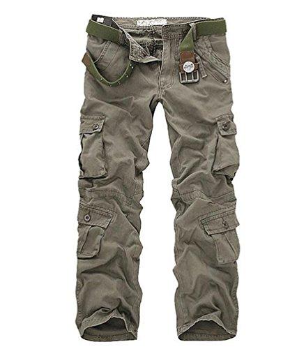 ZKOO Uomo Carico Pantaloni con Multi Tasche Lungo Cargo Pantaloni Pantalone Da Lavoro Cotone Sportivi Pantalone Calzoni All'aperto Casual