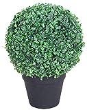 Decovego Buchsbaum Kugel Künstliche Pflanze Buxus Deko im Blumentopf 36cm