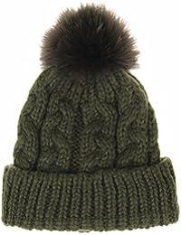 5cde21c059a WITHMOONS Strickmützen Seemannsmütze Thick Crochet Knitted Faux Fur Pom Pom Beanie  Hat SG5578