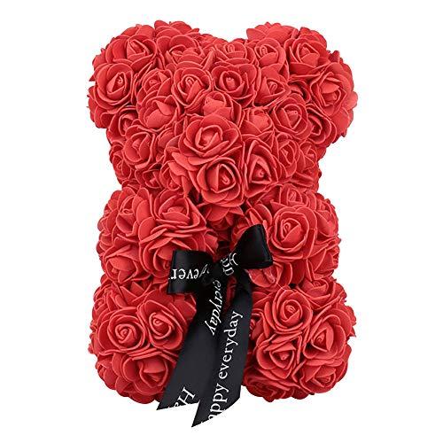 weituoli Rose Bär Teddybär Forever Künstliche Rose Jubiläum Valentines Geburtstage Romantische Geschenk Zuhause Hochzeit Party-Dekor (Rose Künstliche Valentines)