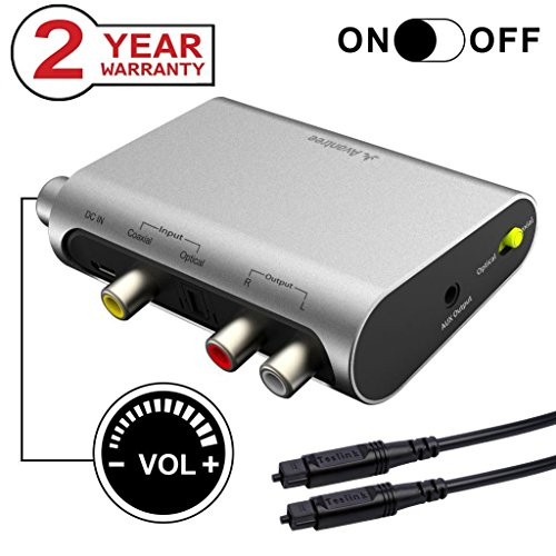 Avantree DAC DA Wandler Digital Analog Wandler Audio Konverter, SPDIF Toslink Adapter mit Optisch Kabel, Volume Control, 192Hz, TV Optisch Koaxial Input, Kopfhörer Lautsprecher 3.5mm AUX RCA L/R Output