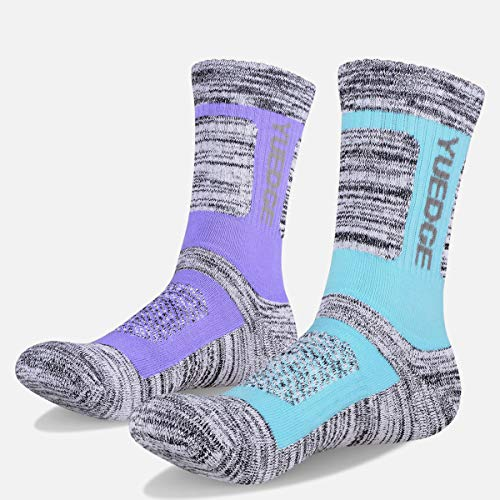 YUEDGE Damen 2 Paar Multi Performance Wandern Wicking Kissen Crew Socken, Damen, Sportsocken, W1805, Assortment 2Pairs Light Blue/Purple, XL(Women Shoe 9.5-12.5 US Size)