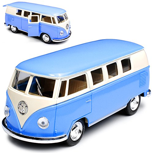 alles-meine.de GmbH VW Volkswagen T1 Blau Creme Weiss Samba Bully Bus 1950-1967 1/32 Kinsmart Modell Auto