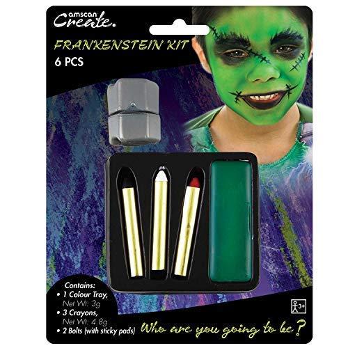 Kinder Jungen Frankenstein Monster Make-Up Gesichtsbemalung Satz mit Schrauben Halloween Kostüm Kleid Outfit Zubehör