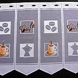 Clever-Kauf-24 Scheibengardine Kaffeetasse Cafebohnen Bedruckt Höhe 45cm oder 60cm | Breite der Gardine frei wählbar in 14cm Schritten | Gardine | Panneaux (Höhe 45cm)