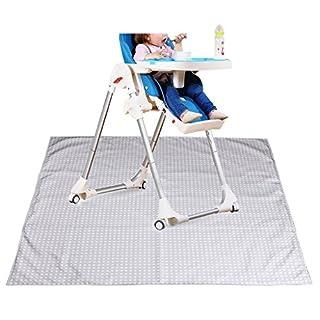 IGNPION Highchair Splash Mat No Mess Anti Slip Feeding Splat Mat Baby Floor Mat Protector (Grey)