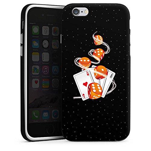 Apple iPhone X Silikon Hülle Case Schutzhülle Würfel Herz Karten Silikon Case schwarz / weiß
