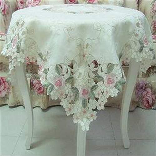 Tuhaxz Elegante schäbige Vintage Blumentischüberlagerung für Hochzeiten, rosa Rose bestickte Tischdecke, süße Kirschblüten-Tischkleidung