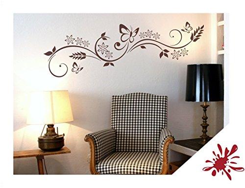 Exklusivpro Wandtattoo Blumen Ranke mit Schmetterlinge für Wohnzimmer Schlafzimmer Flur oder Diele (jap29 dunkelrot) 150 x 40 cm mit Farb- u. Größenauswahl