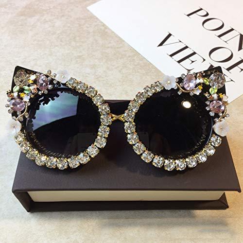 KJWELUQ Strass cat Eye Sonnenbrille Mode Brille Frauen Blume mit Perle runde Sonnenbrille Strand