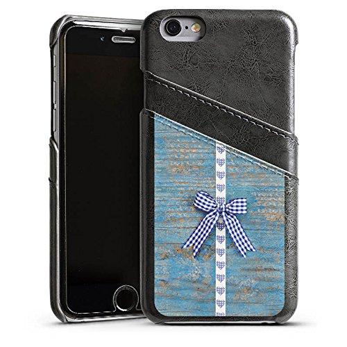 Apple iPhone 5s Housse Étui Protection Coque Look bois Boucle c½ur Fête de la bière Étui en cuir gris