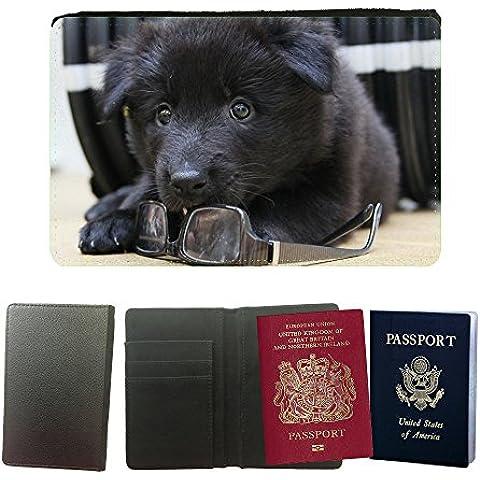 Cubierta del pasaporte de impresión de rayas // M00148067 Puppy Pastore Belga Groenendael // Universal passport leather cover