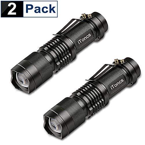 2 Stück LED Taschenlampe iToncs Taktische Taschenlampe Wasserdichte Cree Q5 Superhell Mini Camping Handlampe Taschenlampen für Nachtreiten, Wandern und Spaziergang mit Hunde
