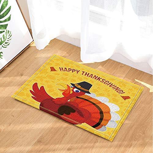yinyinchao Erntedankfest Dekoration,Türkei Vogel Ahornblatt Badezimmer Teppich,Outdoor Indoor Anti-Rutsch-Fußmatte,Kinbadezimmer Teppich,40X60 cm,Inneneinrichtung