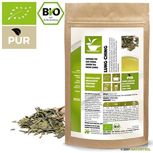 100 g Lung Ching – Grüner Bio-Tee – Im Aromadichten & Wiederverschließbaren Beutel – Natürlich Tee by Naturteil