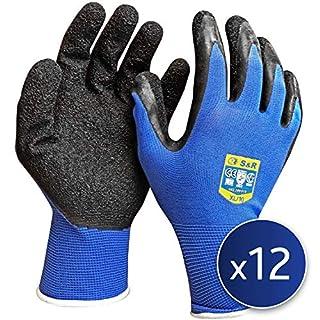 S&R 12 Paires de Gants de Travail en Nylon et Latex. Gants de protection montage et assemblage Taille XL / 10