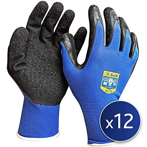 """S&R Arbeitshandschuhe 12 Paar XL aus NYLON mit LATEX-Beschichtung, \""""DRIVE-GRIP®\""""-Technologie Schutzhandschuhe geeignet für den privaten und gewerblichen Gebrauch (XL/10)"""