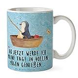 Mr. & Mrs. Panda Tasse Pinguin Angelboot - 100% handmade in Norddeutschland - Neuanfang, Angelboot, Frühstück, Geschenk, Neustart, Scheidung, Motivation, Keramik, Boot, Pinguine, Schenken, Angeln