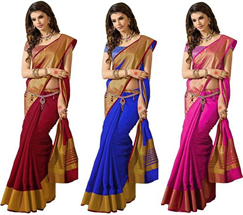 Art Decor Women's Poly Silk New Trendy Saree With (Pack of 3)...