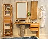 SAM Badezimmer-Set Kubu Bangli aus Teak-Holz, mit Marmor Waschbecken, Spiegel, Regal und Hängeschrank, ausdrucksstarke Maserung
