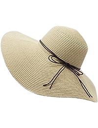 YUUVE Sombrero de paja de verano para señoras Gorra plegable para playa Sombrero ancho para sombrero grande Fedora Floppy Sun para mujer