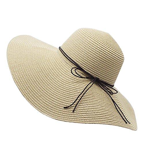YUUVE Damen Sommer Strohhut Faltbarer Strandhut mit Breiter Krempe Großer Filzhut Flexibler Sonnenhut für Frauen