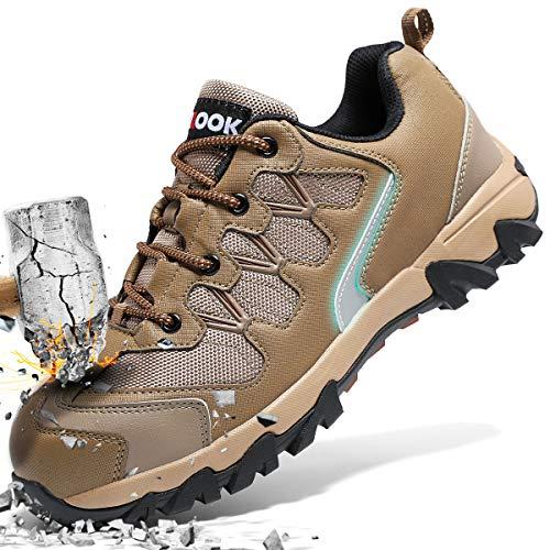 ASHION Stahlkappe Sicherheitsschuhe Herren, Industrie Handwerk Schuhe Atmungsaktiv Leichte Reflektierende Arbeitsschuhe(Braun,43 EU)
