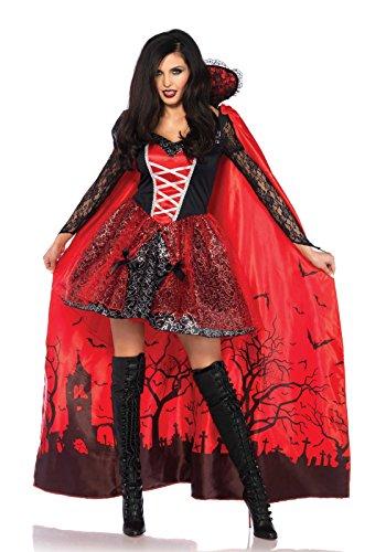 Vampira Deluxe Kostüm - LEG AVENUE 85582 - Deluxe Vampire Verführerin Kostüm-Set, Damen Fasching, L, Schwarz/Rot