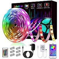 LED Strip, L8star LED Streifen Farbwechsel Led Lichterkette 5M RGB Flexible LED Bänder Strips mit Bluetooth Kontroller Sync zur Musik, Anwendung für Schlafzimmer, Party und Feriendekoration (5M)