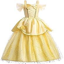 Disfraz de Bella para niñas, vestido de princesa con capas y hombros descubiertos