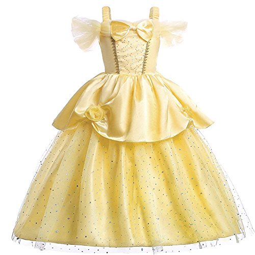 (4 - 5T) - Little Girls Princess Belle Costume Off Shoulder Layered Dress up (4-5T) (Buch Der Woche Dress Up Kostüm)