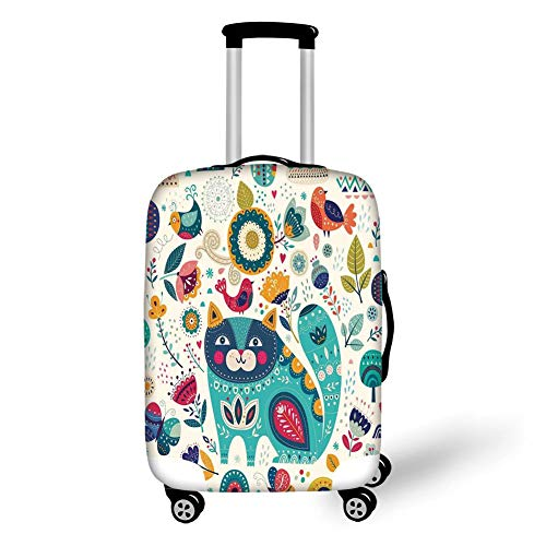 Travel Luggage Cover Suitcase Protector,Cat,Cat Figure with Birds Flower Leaf Trees Butterflies Spring Ornate Illustration,Multi,for Travel,M -