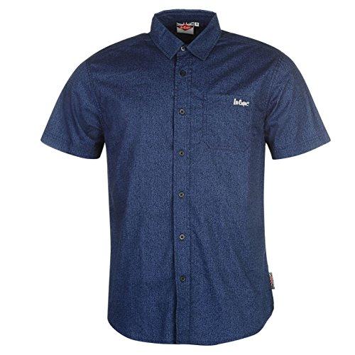 lee-cooper-hombre-por-todo-estampa-texture-camisa-camiseta-mangas-cortas-casual-azul-marino-medium