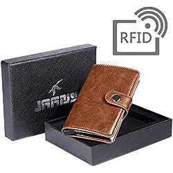 Tarjetero RFID Cartera Crédito, Tarjetero para Tarjetas de Crédito Cartera de Aleación de Aluminio Multiuso Bolsillos, Premium Cuero Exterior Automáticas Desplegables para Hombres y Mujeres JAANY