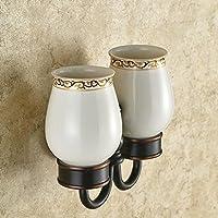 BLYC- Accessori bagno bronzo scuro Premium Doppia base vetro mensole in acciaio inox Accessori bagno