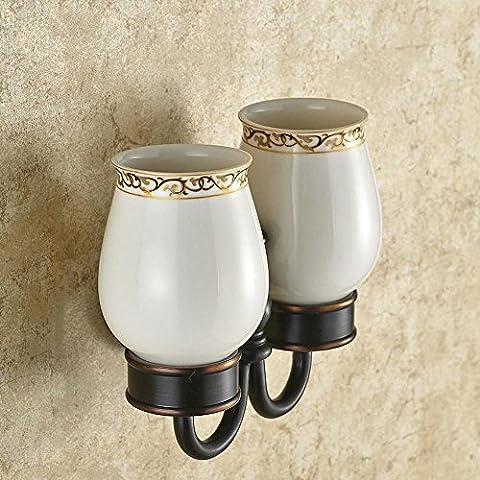 Accessori bagno bronzo scuro Premium Doppia base vetro mensole in acciaio inox Accessori bagno