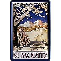 Alpen Schweiz Winterurlaub Schnee Blechschild 20 x 30 Retro Blech 323