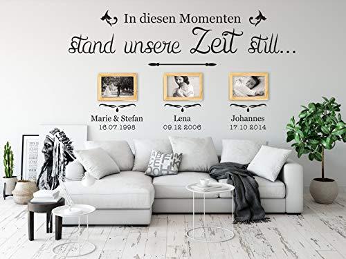 tjapalo® a34 Wandtattoo Momente Wandsticker Wandaufkleber Wohnzimmer In diesen Momenten stand unsere Zeit still mit 3 Wunschdaten, Größe: B130xH53cm, Farbe: schwarz