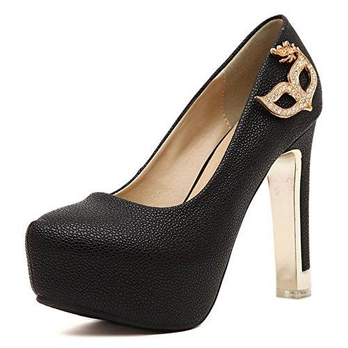 VogueZone009 Femme Tire à Talon Haut Pu Cuir Couleur Unie Rond Chaussures Légeres Noir