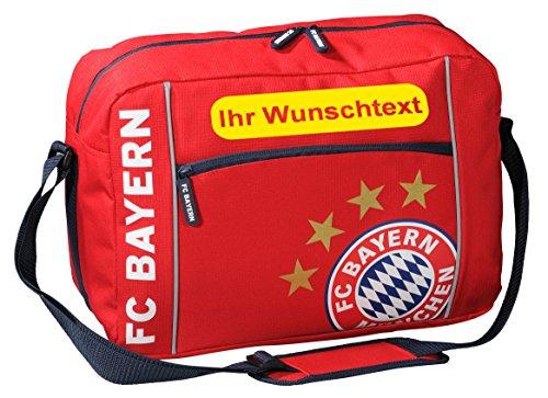FC Bayern Schultertasche mit Ihrem Wunschtext (Plakette) Gelb