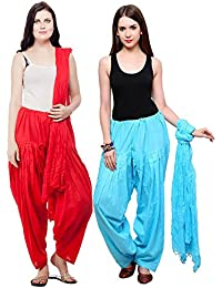Fashion Store Patiala Salwars And Dupatta Set Combo Of 2(Free Size,Sky & Red )