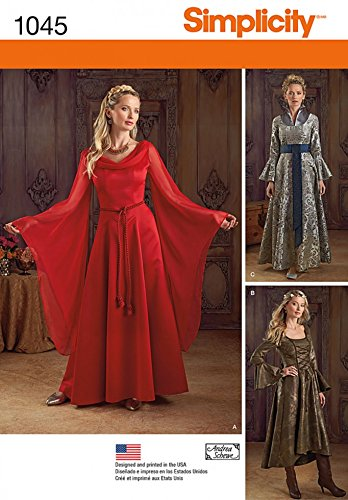 Designer Kostüm Vorlage - Simplicity Damen Schnittmuster 1045historischen Stil Kleider Kostüme