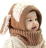 Yuson Girl Inverno del Bambino delle Ragazze dei Capretti dei Ragazzi di Lana Caldo Coif Hood Sciarpa ricopre i Cappelli (caffè)