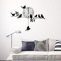 Idea Regalo - WALPLUS - Orologio a Parete per Soggiorno in Stile Moderno, Soggetto: Uccelli, Colore: Nero