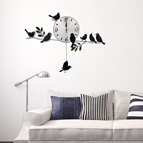 WALPLUS Orologio a parete per soggiorno in stile moderno, soggetto: uccelli, colore:...