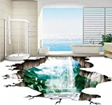 DDBBhome 3D Landschaft Wasserfall Einladende Kiefer Verdickt Schlafzimmer Wohnzimmer Restaurant Bad Lobby Bodenbelag Wandbild 140X70Cm