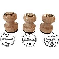 """Stempel 3er Set """"Ein kleines Dankeschön, selbstgemacht, ...für Dich, 3 cm Durchmesser, Holzstempel"""
