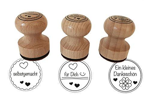 """Stempel 3er Set \""""Ein kleines Dankeschön, selbstgemacht, ...für Dich, 3 cm Durchmesser, Holzstempel"""